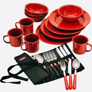Coleman 24-Piece Enamel Dinnerware Camping Set*NEW